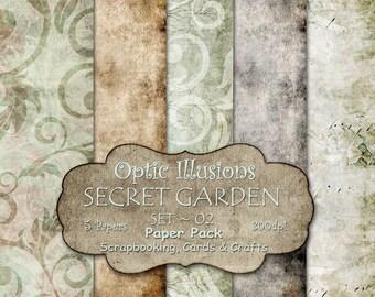 Secret Garden - Set 02 - Digital Scrapbooking Papers - Paper Pack - 12 x 12 inch - INSTANT DOWNLOAD -