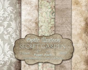 Secret Garden - Set 03 - Digital Scrapbooking Papers - Paper Pack - 12 x 12 inch - INSTANT DOWNLOAD -