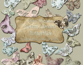 Secret Garden Butterflies - 25 Butterflies - Digital Scrapbooking Elements, Embellishments, Card Design, Commerical Use OK2.50