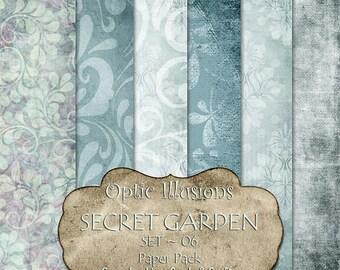 Secret Garden  - Set 07 - Digital Scrapbooking Papers - Paper Pack - 12 x 12 inch - INSTANT DOWNLOAD -