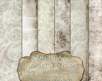 Secret Garden  - Set 04 - Digital Scrapbooking Papers - Paper Pack - 12 x 12 inch by Optic Illusions - INSTANT DOWNLOAD -