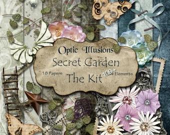 Secret Garden - THE KIT - Digital Scrapbooking Kit, 18 Papers, Over 100 Elements, Secret Garden Alpha, Great Kit to Scrap Great Memories--