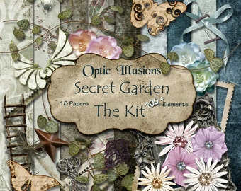 Secret Garden - Digital Scrapbooking Kit, 18 Papers, Over 100 Elements, Secret Garden Alpha, Great Kit to Scrap Great Memories-3.00