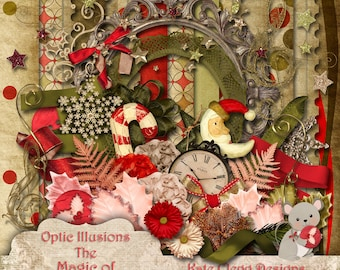 The Magic of Christmas - Digital Scrapbooking Kit - 13 Papers and over 80 Elements -