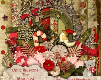 The Magic of Christmas - Digital Scrapbooking Kit - 13 Papers and over 80 Elements -4.75