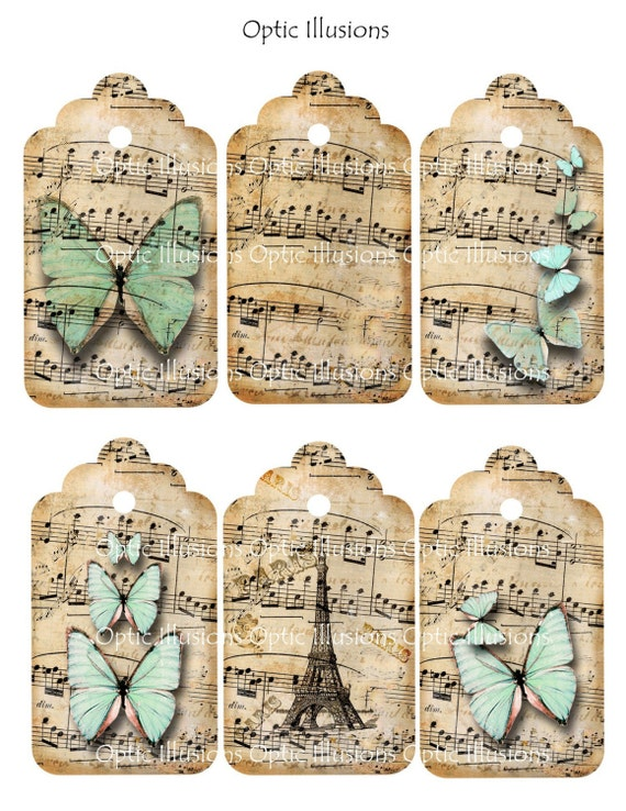 INSTANT DOWNLOAD - Whimsical Dancing Butterflies - Gift Tags 2.5 x 4 inch, Gift Tags, Scrapbooking, Journaling, Card Supplies2.50