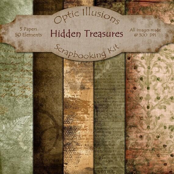 Hidden Treasures - Digital Scrapbooking Papers - Paper Pack - 12 x 12 inches  -  INSTANT DOWNLOAD -2.50