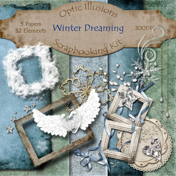 Digital Scrapbooking Kit - WINTER DREAMING - 5 Papers - 52 Elements -3.00