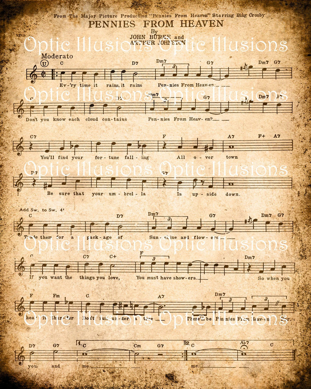 INSTANT DOWNLOAD Vintage Music Sheets Set of 2 by opticillusions