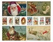 Digital Collage Sheet - Vintage Santa Claus Christmas Images No. 1 - Printable PDF File - INSTANT DOWNLOAD