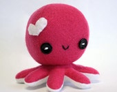 "Hot pink Love octopus plush - 4"""
