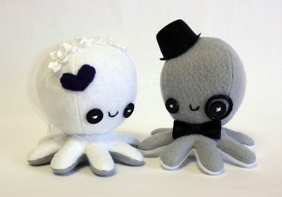 Custom octopus wedding cake toppers