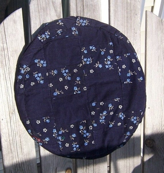 Drum Cover / Djembe  / Navy Blue Patchwork, tiny blue flowers / 14 inch