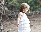 Beautiful Organic White Ruffle Dress..NB, 3m, 6m, 9m, 12m, 18m, 2T, 3T, 4T..dressbabybeautiful
