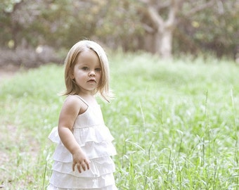 Featured in Etsy Look Book...Beautiful Organic Ivory Ruffle Dress.. sizes 5-8...dressbabybeautiful