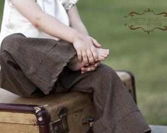 Dressy Brown Trouser..NB, 3m, 6m, 9m, 12m, 18m, 2T, 3T, 4T..dressbabybeautiful
