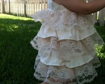 Ivory and Lace Ruffle Dress..5t, 6t, 7, 8..dressbabybeautiful