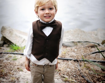 As seen on The Martha Stewart Show..Brown Suiting Vest and Bow Tie 3m, 6m, 9m, 12m, 24m, 2t, 3t, 4t..dressbabybeautiful