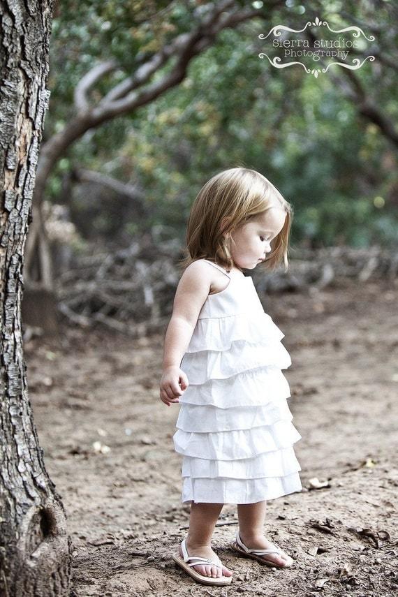 Beautiful Organic White Ruffle Dress..NB, 3m, 6m, 9m, 12m, 18m, 2T, 3T, 4T..dressbabybeautiful