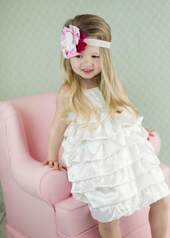 Beautiful White Satin Bubble Dress..NB, 3m, 6m, 9m, 12m, 18m, 2T, 3T, 4T..dressbabybeautiful