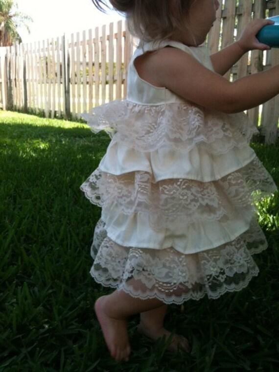 Ivory and Lace Ruffle Dress..NB, 3m, 6m, 9m, 12m, 18m, 2T, 3T, 4T..dressbabybeautiful