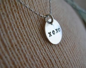 Give Her Hugs and Kisses Charm Necklace - Hand Stamped Sterling Silver Pendant on Sterling Silver