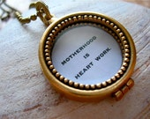 Motherhood is Heart Work Quotation Locket in Antique Gold, Antique Silver, or Rose Gold Copper