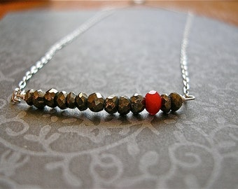 True Love Red Chalcedony and Faceted Pyrite Nuggets on Sterling Silver