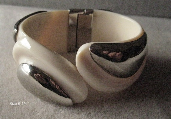 Genuine Elephant Ivory Cuff Bracelet- with Sterling Silver