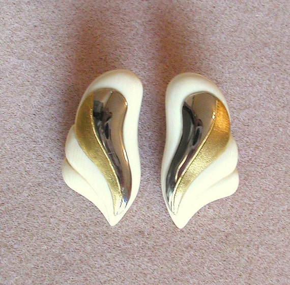 Earrings-Carved genuine Ivory with Gold Vermil and Sterling sliver