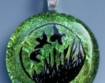 Green Ducks in Reeds pendant Dichroic fused Glass jewelry w/ cord