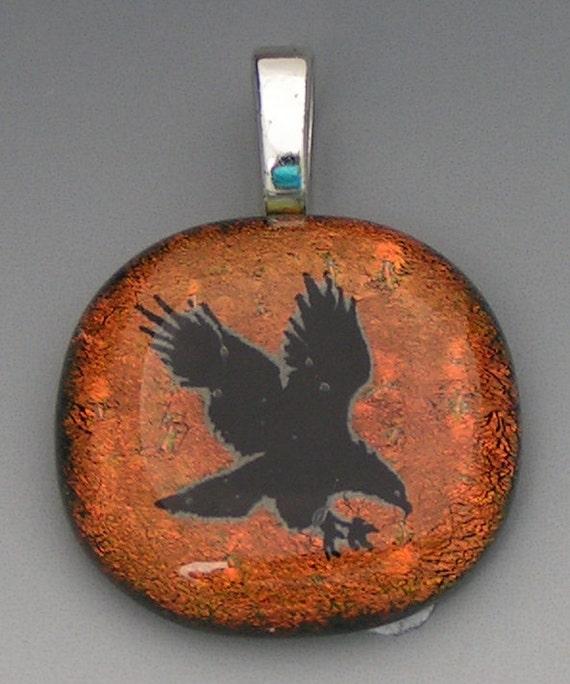Copper color Eagle Dichroic Glass Pendant w/cord