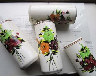 4 Vintage Vases Tumbler Shape * Italian Rustic* Reception Decor * Colorful Rustic Pottery Ceramics