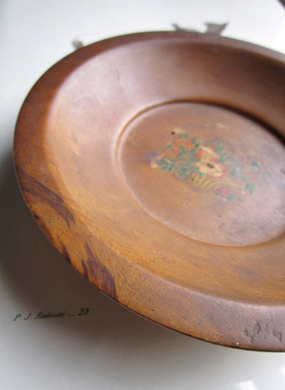 Small Shallow Vintage Wooden Bowl