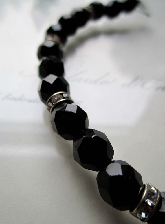 Vintage Rhinestone and Black Necklace