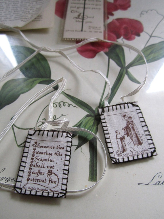 Vintage Religious Scapular Necklace and Bookmarker