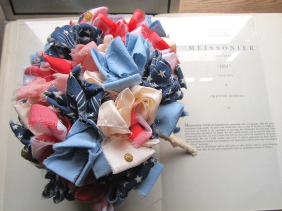Vintage Fabric Bouquet red white and blue