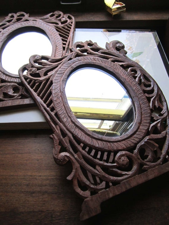 Two Vintage Sheesham Mirrors