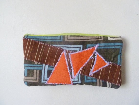 the geometry clutch ... vintage cotton print fabric, eco-friendly zipper clutch