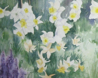 watercolor painting Daffodil field