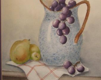 original watercolor Kitchen pitcher- framed