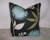 Blue Funky Floral Pillow Cover
