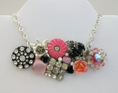 Pink And Black Vintage Collage Necklace One Of A Kind