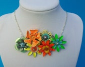 Vintage Collage Necklace Bright Metal Flowers