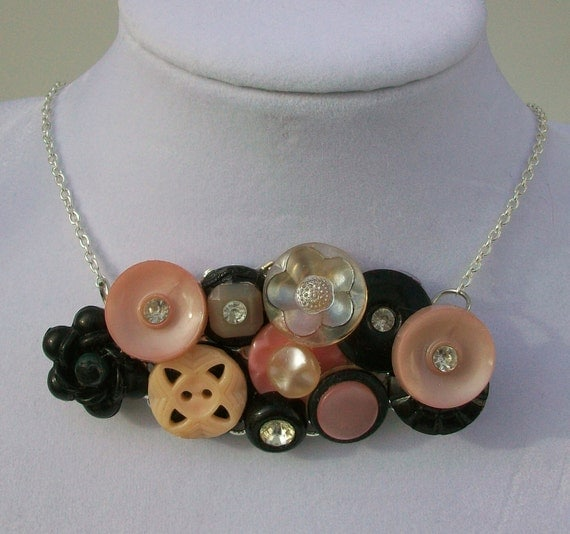 SALE French Boudior Vintage Button Collage Necklace