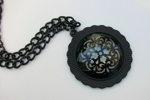 SALE Black Lace And Glass Medallion Necklace