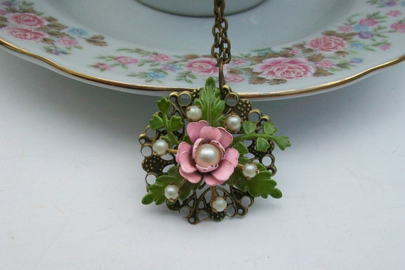 Reserved for Victoria Vintage Repurposed Rose Garden Necklace