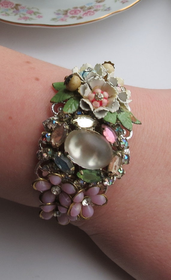 Vintage Repurposed Collage Cuff Bracelet Shabby Chic