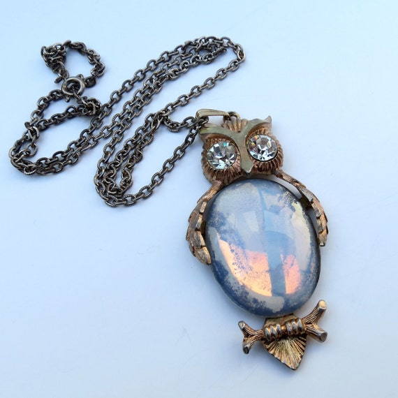 Vintage Dodds Owl With Opalite Belly Necklace