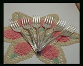 6 Vintage Salad  Forks Melody Silverplate Pattern 1950s
